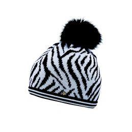 CAPO Čepice Knitted cap zebra w. realhair pompon - 1